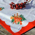 Karácsonyi asztalközép - piros harangos