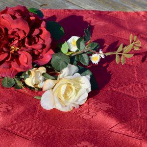 Asztali futó teflonos - bordó damaszt