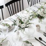 Fehér színű terítő - egyszínű pamut asztalterítő
