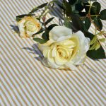 Asztalterítő csíkos - drapp, fehér csíkos