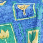 Kék tulipános terítő - kék alapon mintás