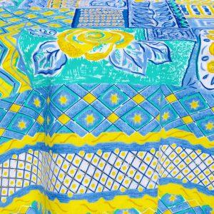 Kék csillagos terítő - kék, sárga mintás