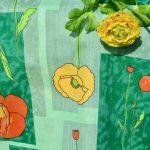 Narancssárga pipacsos terítő - zöld alapú terítő