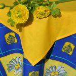Margarétás terítő - kék, sárga margaréták