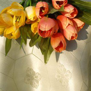 Teflonos damaszt asztalterítő - almazöld színű