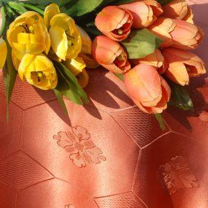 Damaszt terítő teflonos narancs - lazac színű terítő