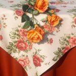 Asztalterítő - bronzvirág rózsás garnitúra