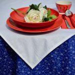 Kékfestő asztalterítő - margarétás garnitúra