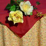Asztalterítő garnitúra - drapp virágos terítő