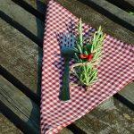 Textil szalvéta - bordó kockás színben