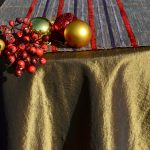 Alkalmi asztalterítő barna - csíkos barna futóval