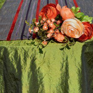 Ünnepi asztalterítő zöld - barna futóval