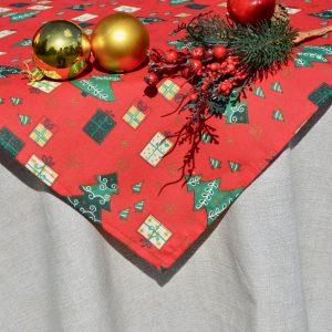 Karácsonyi asztalterítő - nyers alapon piros mintás