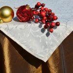 Karácsonyi asztalterítő barna - indás krém középpel