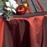 Karácsonyi asztalterítő bordó - hosszú csíkos futóval
