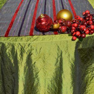 Karácsonyi asztalterítő zöld - hosszú csíkos futóval