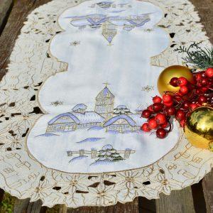 Karácsonyi futó terítő - havas templomos 90x40 cm