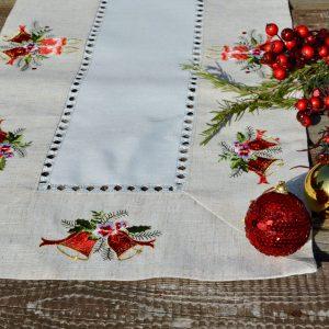 Karácsonyi asztali futó - harangos mintával 90x40cm