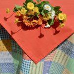 Asztalterítő garnitúra - kockák pasztell színben