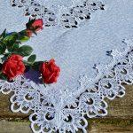 Hófehér asztalközép - fehér csipkés álom (85x85cm)