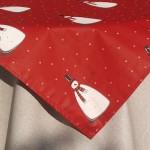 Karácsonyi asztalterítő nyers - piros hóemberkés