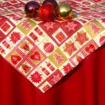 Karácsonyi asztalterítő bordó - karácsonyi mintás