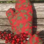 Karácsonyi edényfogó kesztyű - piros borostyános