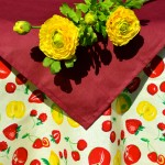 Epres asztalterítő - sárga alapon epres