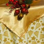 Karácsonyi asztalterítő krém - csillagos arany fenyős