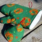 Karácsonyi edényfogó kesztyű - adventi koszorús (zöld)