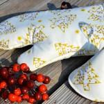 Karácsonyi edényfogó kesztyű - arany fenyős