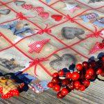 Karácsonyi abrosz nyers színben - rusztikus mintás