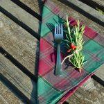 Textil szalvéta - bordó, zöld kockás