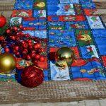 Karácsonyi futó terítő - képeslap mintás(140x40)
