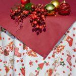 Karácsonyi abrosz garnitúra - bordó mikulás csizmák