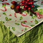 Alíz karácsonyi terítője - lurex közép zölddel